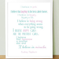Audrey Hepburn quote I Believe In Pink 5x7 by UUPP on Etsy