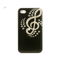 Handmade hard case for iPhone 4 & 4S: Bling  diamondTreble clef(custom are welcome)