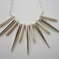 Wolverine - White Howlite Dagger &amp; Silver Spike Necklace