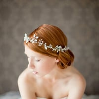 Wedding, Floral Bridal Crown, Headband, Crystal Tiara, Wedding Hair Accessory, ivory, silver- Breathless