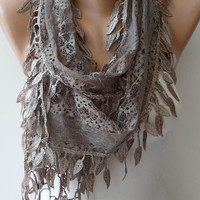 Light Brown Lace Scarf with Trim Edge - Summer Colors -