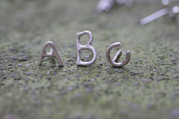 Alphabet letter stud earrings in Sterling Silver