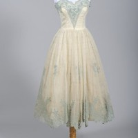 1950's Cotillion Strapless Tea Length Wedding/Party Dress