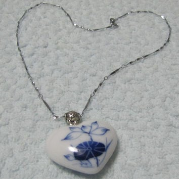 Lotus Dragonfly Chinoiserie Blanc de Chine Delftware Hand painted Necklace. White And Blue Porcelain Heart Glaze. Ceramic Art, Handmade.