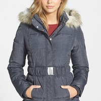 Women's Laundry by Design Faux Fur Trim Belted Puffer Coat (Online Only)