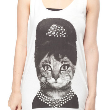 Cat Shirt Animal Kitty Audrey Hepburn Shirt Women Tank Top White Shirt Tunic Top Vest Sleeveless Women T-Shirt Size S M