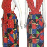 Design House Pinafore Maxi Dress 1970s Vintage