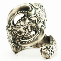 Spoon Ring Art Nouveau Wild Flower Sterling Silver, Handmade in Your Size (2638)