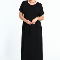 Plus Size Drawstring Tee Maxi Dress - LoveCulture