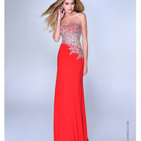 Nina Canacci 2014 Prom Dresses - Red Jersey & Paisley Beaded Strapless Prom