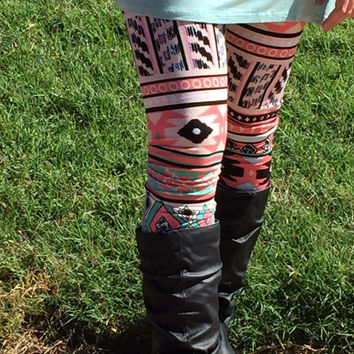 Coral and Mint Aztec Print Leggings