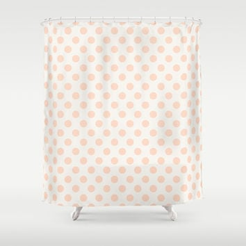 Vintage Dot Pale Peach Shower Curtain by Pattern Plus | Society6