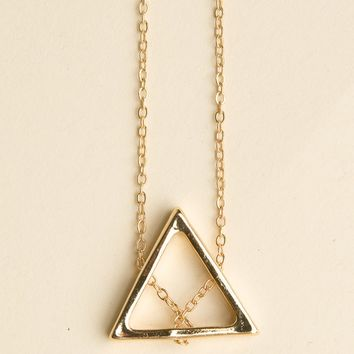 GOLD CHAIN OPEN TRIANGLE NECKLACE