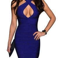 Miusol Ladies Celeb Sexy Blackless Club Wear Cut Out Bandage Bodycon Party Dresses