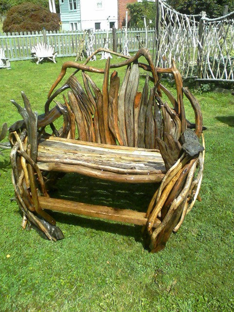 bench, driftwood furniture,garden, beach,or deck art made by: Formansforestworks