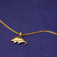 Gold Mouse necklace in solid Sterling Silver (Mouse charm Mouse necklace)