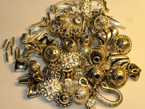 Lot of Mixed Metal Jewelry Findings, Silver