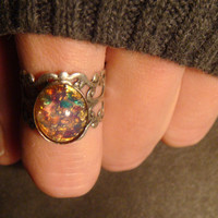 Fire Opal Antique Silver Filigree Ring- Adjustable (476)