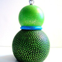 Pepper Mill: Green Hand Painted Pepper/Salt Grinder