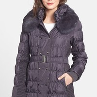 Women's Via Spiga Double Breasted Puffer Jacket with Genuine Rabbit Fur Trim (Online Only)