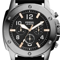 Men's Fossil 'Modern Machine' Chronograph Leather Strap Watch, 45mm