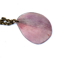 Clematis Necklace - Real Petal Jewelry - Light Lilac Real Resin Pendant Antique Brass Botanical Jewelry Nature Inspired