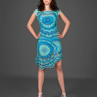 Cyan blue exclusive crochet two-piece dress (top&amp;skirt)