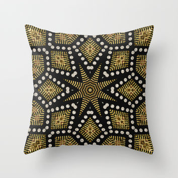 Black Gold | Geometric Tribal Throw Pillow by Webgrrl