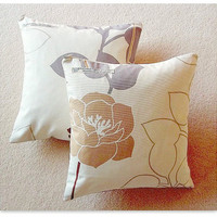 Cushion cover pillow cover cotton floral neutrals retro style zip fastening 14inch 35cm