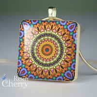 scrabble tile pendant,art jewelry,kaleidoscope resin pendants- T0583SP