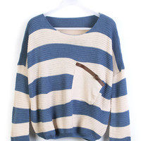 Blue Stripes Loose Sweater with Pocket$30.00