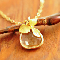 Gold Glass Stone Necklace - bridesmaid necklace, bezel set glass, bridesmaid gift, gold orchid necklace, glass stone necklace
