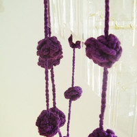 Purple crochet garland, wall hanging, pom-pom bunting, home decoration, violet flower balls