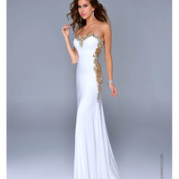 Nina Canacci Ivory Satin & Gold Filigree Strapless Gown Prom 2015