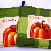 Set of Two Pot Holders, Fresh picked Pumpkins