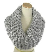 Bulky Scarf, Outlander Inspired, Hand Knit Cowl, Circle Scarf, Infinity Scarf, Gray, Winter, Women