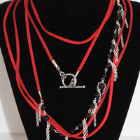 Necklace: Red, Black, Silver Chain Fringe, Leather Wrap
