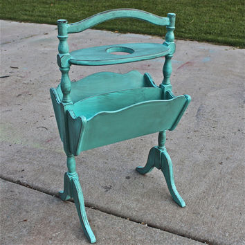 Vintage Magazine Rack /Aquamarine /French Cottage Wood Rack /Distressed  /Book Rack  / Shabby Chic /Cottage Chic /Beach Decor