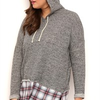 Plus Size Long Sleeve French Terry Hoodie with Plaid Layer