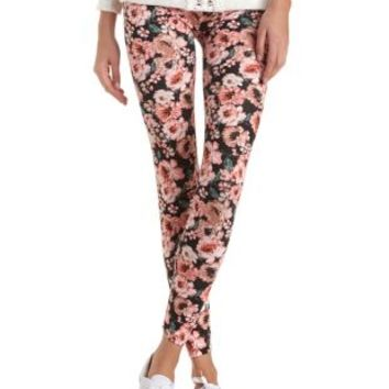 Cotton Floral Printed Leggings by Charlotte Russe - Natural Combo