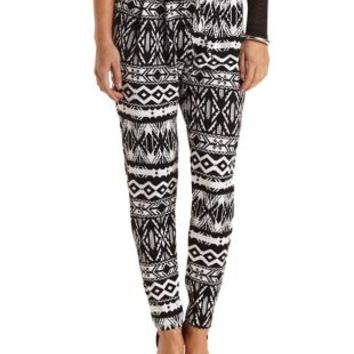 Aztec Print Drawstring Trousers by Charlotte Russe - Black/White