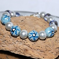 Blue Lily Bracelet Polymer Clay Glass Beads and Silver Glass Pearls