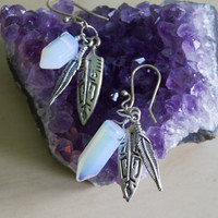 Feather Earrings Native Spirit Charm Earrings with Opalite Dagger Crystals and Tribal Feather Arrowhead Charm
