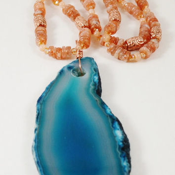 Sunstone necklace, Agate slice necklace, semi precious jewelry, turquoise agate necklace, Moonstone jewelry, copper necklace, long necklace