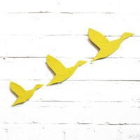 Flock Flying ducks wall art in NEW sunshine by PrinceDesignUK