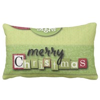 modern green red Ornaments snowflakes christmas Pillow