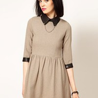 Sister Jane Tweed Skater Dress with Faux Leather Collar and Studs at asos.com