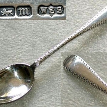 Edwardian 925 Sterling Solid Silver Bright Cut Engraved Tea Spoon by W S Savage & Co, Hallmarked for Sheffield 1904 (ref: 3009)