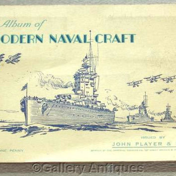 Modern Naval Craft Full Set of 50 Cigarette Cards in Original Album by John Player & Sons Issued in 1939 (ref: 3091)