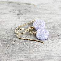 Purple Druzy Earrings, Gold Fill Earrings, Light Violet Earrings, Dangle Earrings, Circle Earrings, Gemstone Earrings, Lavender, Lavendar